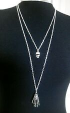 "Skeleton Hand & Skull Charms Layered Necklace Minimalist Silver Tone 30"" Chain"