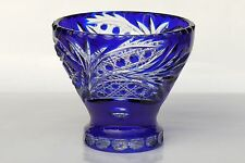 CASED CRYSTAL BOWL / SWEETS VASE, 16x18 cm, BLUE Cut to clear Overlay RUSSIA New