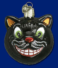 GRINNING BLACK CAT Classic Halloween Ornament Old World Christmas NEW IN BOX