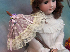 Handmade DOLL PARASOL umbrella LAVENDER taffeta lace WOOD Handle CARRIAGE Pram