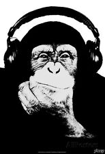 Steez Headphone Chimp - Black & White Poster Print by Steez, 13x19