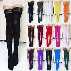 Sexy Women Lady Thick Sheer Lace Top Thigh High Silk Elastic Stockings 15Colors