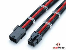 6 pin PCIE 45cm Black Red Sleeved Extension Cable + 2 Free cable Combs Shakmods