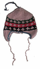 Winter HAT - Pink Handmade Pakistani Wool - Adult Knitted Hippie Ski Cap H10