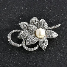 Women Fashion Rhinestone Crystal Silver Flower Brooch Pin Bridal Wedding Gift
