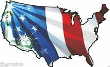 USA WAVY FLAG STAUE OF LIBERTY TOOL BOX HELMET BUMPER STICKER DECAL MADE IN USA