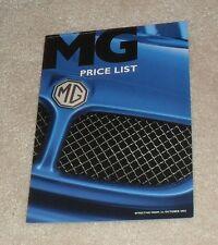 MG Price List 2002 - ZR + 160 ZS ZT ZT-T 135 CDTi TF 115 135 160