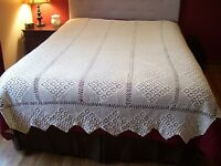 VTG Antique Bedspread Coverlet Crochet Bed Cover Handmade Diamond Tablecloth