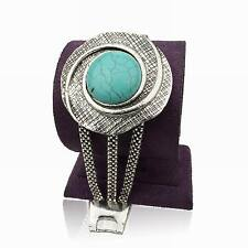 Graceful Tibetan Silver Cameo Round Nature Turquoise Link Gift Bangle Bracelet