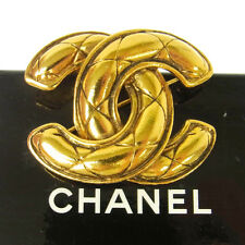 Authentic CHANEL Vintage CC Logos Brooch Pin Corsage Gold-Tone France JT04108