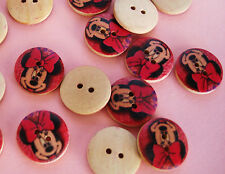 20 Wooden Minnie Flatback Sewing Button/trim/2 hole/girl/sweater/mouse/Wood Sb13