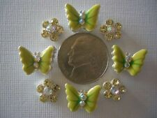2 Hole Slider Beads Butterflies/Daisies Lime Yellow Made w/Swarovski Elements#8