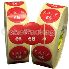 4000 x 'SALE €6' EURO Retail Self Adhesive Shop Price Labels Stickers 35mm
