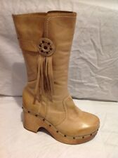 Faith Beige Mid Calf Leather Boots Size 6