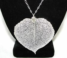 "NEW NATURAL REAL 3"" JUMBO SILVER PLATED ASPEN LEAF PENDANT+LONG CHAIN NECKLACE"