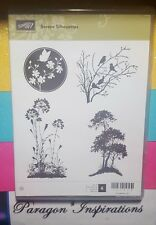 Stampin Up Clear Mount SERENE SILHOUETTES Trees Flowers Birds Butterflies