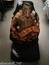 """AIRBAG SAFE single Airbrush style Slip-on seat cover. Ned Kelly """"Such is Life"""""""