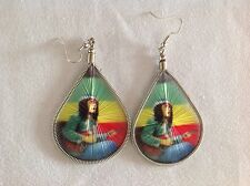 Rasta Bob Marley thread earring - Guitar
