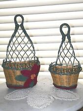 Hanging Poinsettia Floral Wicker baskets Red/Green Christmas Decor VERY UNIQUE