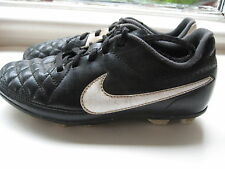 Nike Tiempo Rio II FG Jr SOCCER CLEATS football boot white black Youth Size 13.5