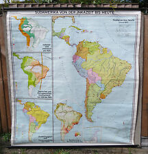 A VINTAGE  PULL DOWN GEOGRAPHICA AND HISORICAL MAP OF SOUTH AMERICA 1967s