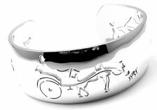 Rare! Authentic Hermes Sterling Silver Harness Horse Racing Cuff Bangle Bracelet