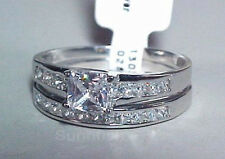 925 SOLID STERLING SILVER BEAUTIFUL PRINCESS CUT WEDDING RING SET SIZE 5