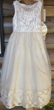 Girls Special Occasion Dress White W/ Pearls, by Cinderella SZ 8 ties in back