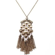 N920 Betsey Johnson Vintage Magic Wedding Bronze Pearl with Tassels Necklace US