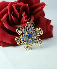 Vintage Sparkling Blue Rhinestone  Gold tone  Pin Brooch CAT RESCUE