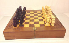 Vintage Asian Motif Folding Chess Board with Drawers Wood Carved Pieces