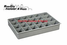 (4) LARGE PLASTIC INSERT 24 HOLE STORAGE TRAY FOR NUTS, BOLTS AND WASHERS