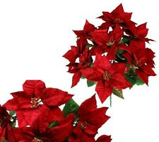 """New 9 Red Large Poinsettias 22"""" Christmas Holiday Silk Flower Home Office Decor"""