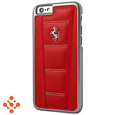 "Official Ferrari 458 iPhone 6 6S 4.7"" Red Leather Hard Case Silver Horse"