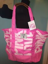 NWT Victoria's Secret Pink Canvas Tote Travel Bag Large