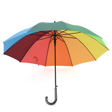 Auto-Open Long-handle Strongly Windproof Oversized Multicolour Rainbow Umbrella