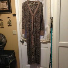 Free People Kitty Cat Long Cardigan Sweater Leopard Print Cotton Blend Sz M