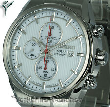 New SEIKO TITANIUM White Face Chronograph with Titanium Bracelet SSC363P1