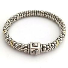 Lagos Sterling Silver & 18K Gold Caviar Beaded Bracelet, Size M