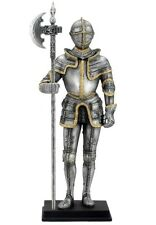 """10.75"""" Armored Knight w/ Pollaxe Statue Figurine Medieval Times Armor Sculpture"""