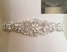 Wedding Sash Belt - Crystal Pearl Belt = 12 inch long in IVORY SHEER sash