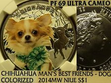 Niue 2014MW $1 NGC PF-69 UC~Chihuahua Colorized~RARE 1,500 Minted~POP=1~Awesome