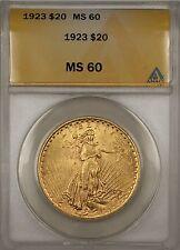 1923 $20 Dollar St. Gaudens Double Eagle Gold Coin ANACS MS-60 BP