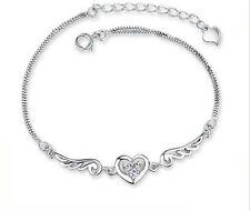 925 Sterling Silber Anhänger Zirkonia Armkette Herzkette STRASS Schmuck Kette