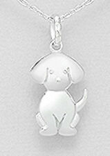 "1.14"" Solid Sterling Silver Adorable Labrador Puppy Dog Pendant 2.49g 29mm"