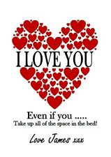 valentines day gift personalised print a4 adult humour I love you wife husband