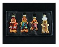 GISELA GRAHAM BOX OF 4 GLITTER GLASS GINGERBREAD MAN CHRISTMAS TREE DECORATIONS