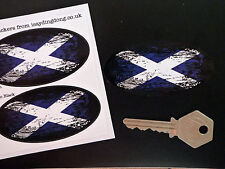 SCOTTISH SALTIRE Flag Fade to Black Oval Car Motorcycle Stickers 75mm Scotland