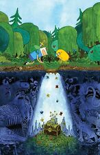 """Adventure Time - With Finn & Jake Fabric Art Cloth Poster 20 x 13"""" Decor 25"""