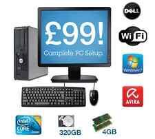 Dell Core 2 Duo 4 GB di RAM da 300 GB HDD WINDOWS 7 flatscreen COMPLETA PC COMPUTER